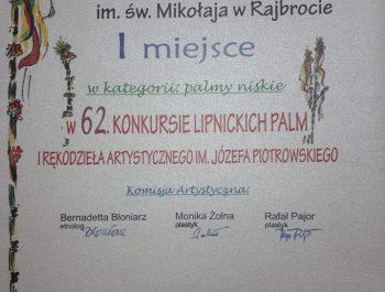 Pierwsze miejsce w Konkursie Lipnickich Palm